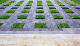 Forecourt. Bluestone paving stones in geometric design with lawn squares.  Granite steps lead down Stock Photo