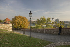 Forecourt of Bratislava castle. And view to Bridge of SNP Stock Images
