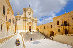 Forecourt of the Cathedral of St Mary, Gozo Royalty Free Stock Image