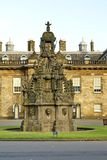 Forecourt fountain in Holyrood Palace in Edinburgh, Scotland. Forecourt fountain in the Palace at Holyroodhouse at the end of the Royal Mile in Edinburgh Stock Images