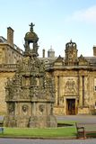 Forecourt fountain in Holyrood Palace in Edinburgh, Scotland. Forecourt fountain in the Palace at Holyroodhouse at the end of the Royal Mile in Edinburgh Stock Photos