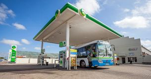 Forecourt of fuel filling station. stock image
