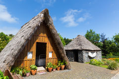 Forecourt of the little house. Forecourt of hut with green grass and trees Royalty Free Stock Photography
