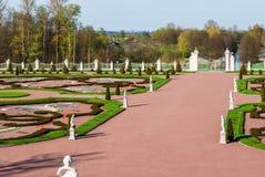Forecourt of the palace. Lomonosov, Leningrad Oblast, Russia - May 10, 2015: Forecourt of Bolshoy (Menshikovskiy) palace. Located in Oranienbaum park on the Stock Photography