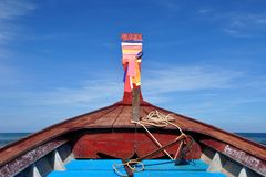 Foredeck of a longtail boat. Heading towards open sea. Koh Libong, Trang province, Thailand stock image