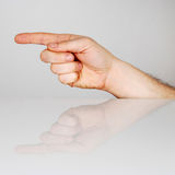 Forefinger. The index finger in the forward direction Stock Photos