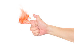 Forefinger with flame and bandage isolated on white background Stock Image