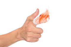 Forefinger with flame and bandage isolated on white background Stock Photography