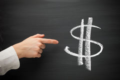 Forefinger point at dollar sign Royalty Free Stock Photos