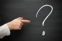 Forefinger point at question sign. On a blackboard royalty free stock photography