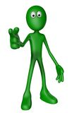 Forefinger points to you. Green guy shows someone with his forefinger - 3d illustration Royalty Free Stock Image