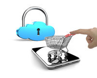 Forefinger pushing shopping cart on smartphone with cloud lock Stock Photo