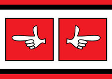 Forefinger showing direction. Vector illustrations of forefingers showing right and left directions Royalty Free Stock Images