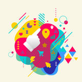 Forefinger shows at abstract colorful spotted background with di Royalty Free Stock Photography