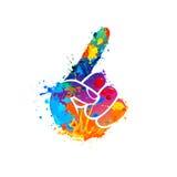 Forefinger symbol. Splash paint icon Stock Photography