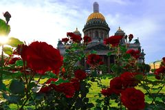 St. Petersburg. Saint Isaac`s Cathedral. Summer, Cathedral and Flowers stock photos
