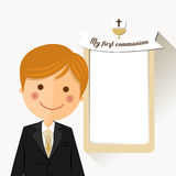 Foreground child costume in her first communion dress invitation with message on ocher color background. Illustration Stock Image
