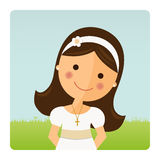 Foreground girl with communion dress. On blue sky background Royalty Free Stock Photography