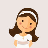 Foreground girl with communion dress. On ocher background vector illustration