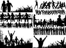 Foreground people. Set of editable foreground illustrations of people with all figures as separate elements royalty free illustration