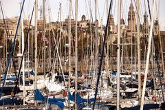 Port of Barcelona with moored sailing boats. In the foreground, sailboats with trees and the city skyline in the background stock photo