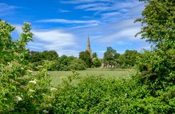 Tranquil scene of an old English church seen nestled behind a group of trees in mid summer. The foreground shows a well maintained pasture area used for grazing Stock Photo
