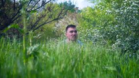 In the foreground there is green juicy grass, in the background a man looks out of the grass. The head of a man looks out of the grass stock video