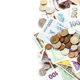 Foreign coins and banknotes Royalty Free Stock Photography
