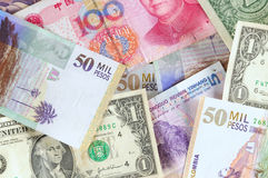Foreign currencies. Stock Photos
