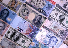 Foreign currencies notes Royalty Free Stock Photography
