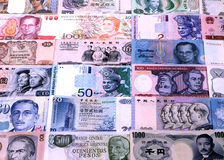 Foreign currencies notes Stock Photos