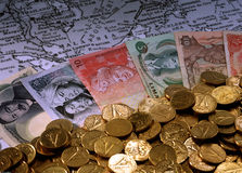 Foreign currencies notes Stock Images