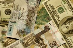 Foreign currency. View of different world paper money Stock Photos