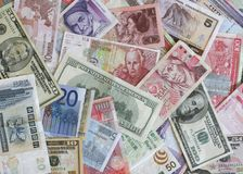 Foreign Currency. Bank notes from Europe, US, China, Poland, Hong Kon, etc Stock Images
