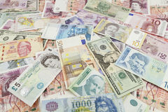Foreign currency banknote. Foreign currency assorted banknote Stock Images