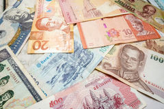 Foreign currency banknotes. Pile of foreign currency banknotes, background Stock Image