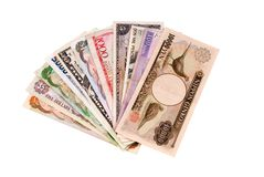 Foreign currency bills. Fan of foreign currency bills Stock Photos