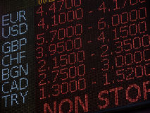 Foreign Currency Exchange Rate Trading On Display Stock Images