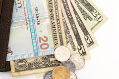 Foreign currency in wallet Royalty Free Stock Images