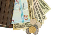 Foreign currency in wallet. Foreign currency in  leathe wallet Royalty Free Stock Photography