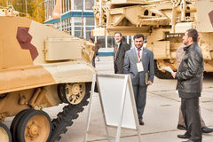 Foreign delegation studies tank T-72. Russia Stock Image