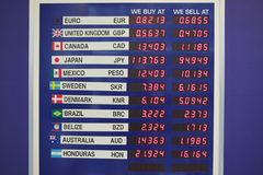 Foreign exchange board at an international airport, United States Royalty Free Stock Photo