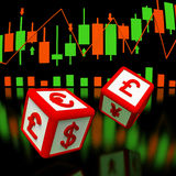 Foreign exchange concept 3d image. Two  dices with symbols of currency on it in flying on reflect surface and stock chart on background Royalty Free Stock Photography