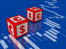 Foreign exchange concept 3d image. Two  dices with symbols of currency on reflect surface of screen with  stock chart Stock Image