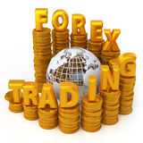 Foreign exchange concept. Golden FOREX character on top of the coin Stock Photos