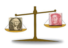 Foreign exchange concept with RMB and US dollar Stock Photo