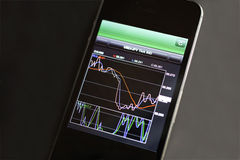 Foreign exchange market chart at smart phone Stock Photos