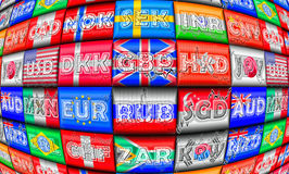 Foreign Exchange Markets. Illustration of foreign exchange markets and currency names in English in terms of their ISO 4217 codes Stock Photography