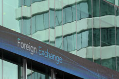 Foreign exchange sign on an outdoor board Royalty Free Stock Photography