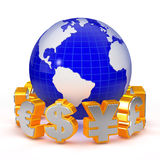 Foreign eXchange trading concept. The currency symbol around the Earth Stock Images